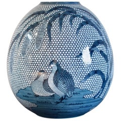 Japanese Contemporary Imari Blue Ceramic Vase by Master Artist