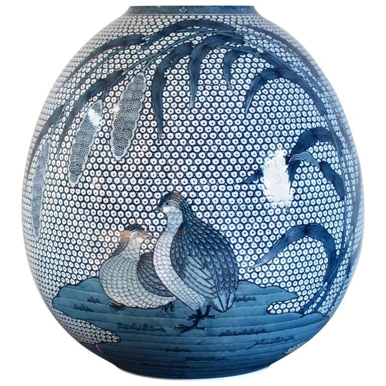 Japanese Blue White Hand Painted Porcelain Vase by Master Artist For Sale