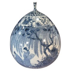 Japanese Contemporary Imari Blue White Porcelain Vase