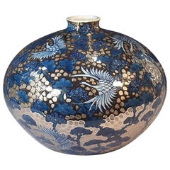 Japanese Contemporary Imari Platinum Gilded Blue Porcelain Vase by Master Artist
