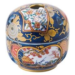 Japanese Contemporary Ko-Imari Gold Blue Porcelain Koro Incense Burner