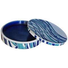Japanese Contemporary Kutani Blue White Ceramic Decorative Box by Master Artist