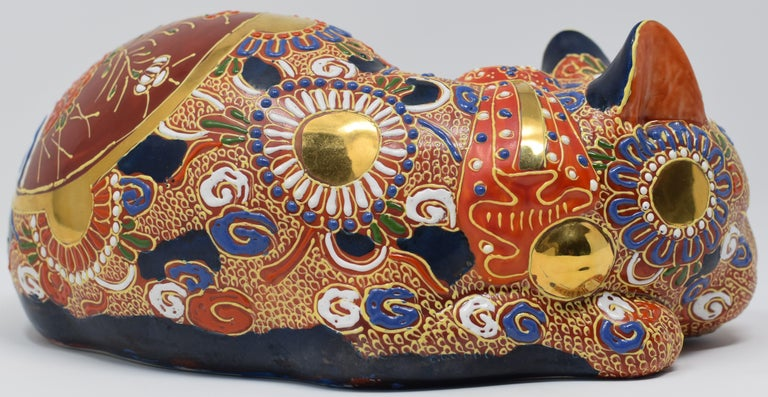 Gold Japanese Contemporary Kutani Porcelain Sleeping Cat, Gilded Hand-Painted  For Sale
