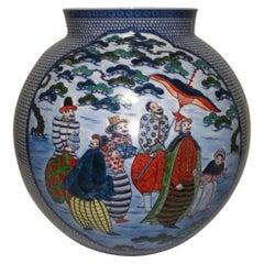 Japanese Contemporary Large Imari Blue Red Ceramic Vase by Master Artist