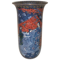 Japanese Contemporary Large Red Pink Blue Porcelain Vase by Master Artist