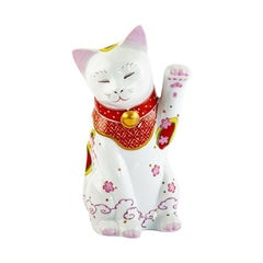 Japanese Contemporary Pink Red Gold Porcelain Lucky Cat Sculpture