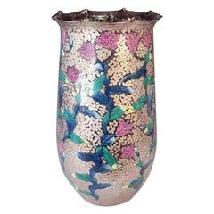Japanese Contemporary Platinum Pink Green Blue Porcelain Vase by Master Artist