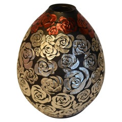 Japanese Contemporary Platinum Red Porcelain Vase by Master Artist