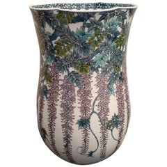Japanese Contemporary Purple Blue Porcelain Vase by Master Artist
