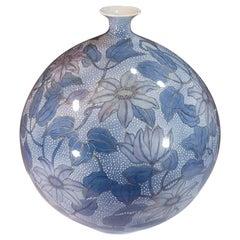 Japanese Contemporary Purple Blue White Porcelain Vase by Master Artist