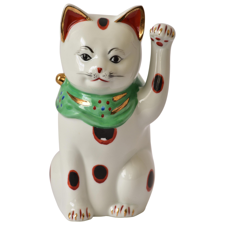 Japanese Contemporary Red Black Kutani Porcelain Beckoning Cat