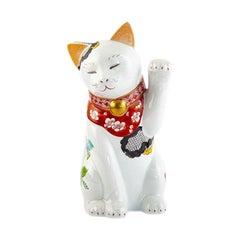 Japanese Contemporary Red Blue Green Gold Porcelain Lucky Cat Sculpture