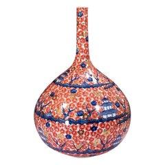 Japanese Contemporary Red Gilded Porcelain Vase by Master Artist