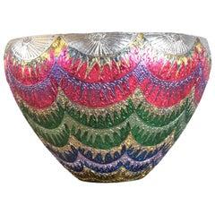 Japanese Contemporary Red Green Blue Platinum Porcelain Vase by Master Artist
