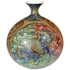 Japanese Contemporary Red Green Gilded Imari Porcelain Vase by Master Artist