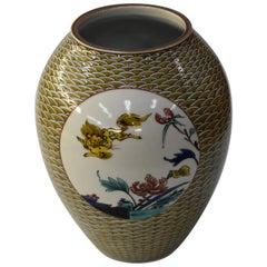 Japanese Contemporary Signed Yellow Kutani Hand Painted Porcelain Vase