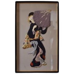 Japanese Contemporary Traditional Silk Brocade Oshie Decorative Art