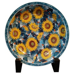 Japanese Contemporary Yellow Blue Orange Porcelain Charger by Master Artist