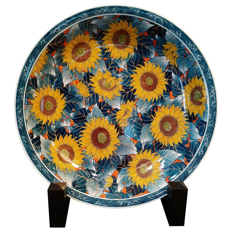 Japanese Contemporary Yellow Blue Orange Porcelain Charger by Master Artist For Sale