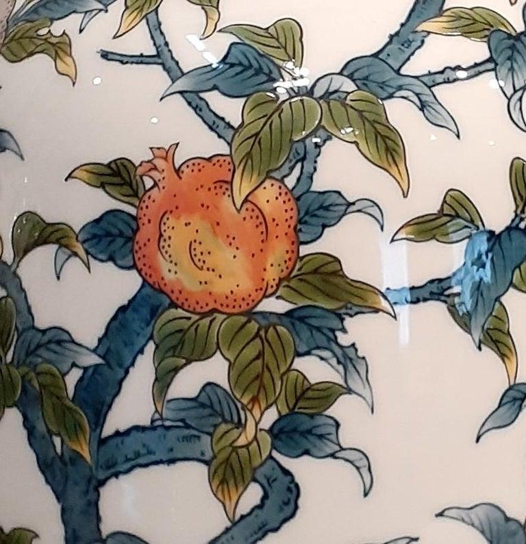 Hand-Painted Japanese Contempory Green Blue Orange Porcelain Vase by Master Artist For Sale