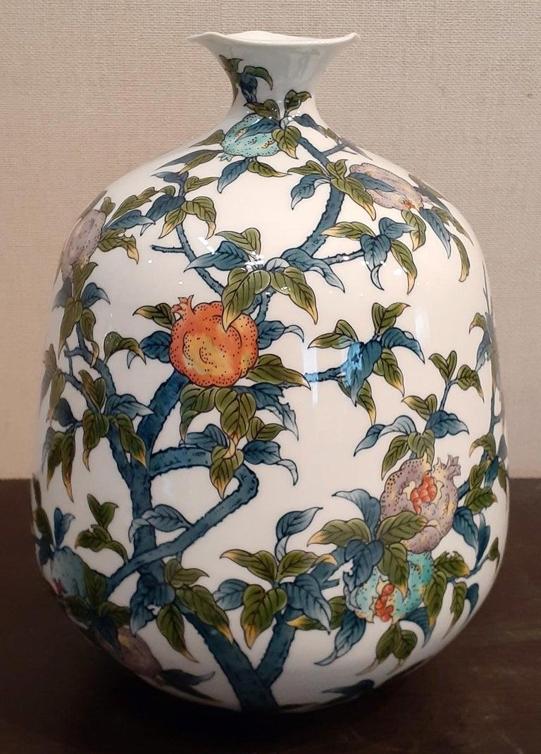 Contemporary Japanese Contempory Green Blue Orange Porcelain Vase by Master Artist For Sale