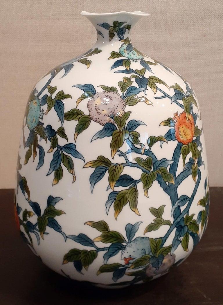 Japanese Contempory Green Blue Orange Porcelain Vase by Master Artist For Sale 1