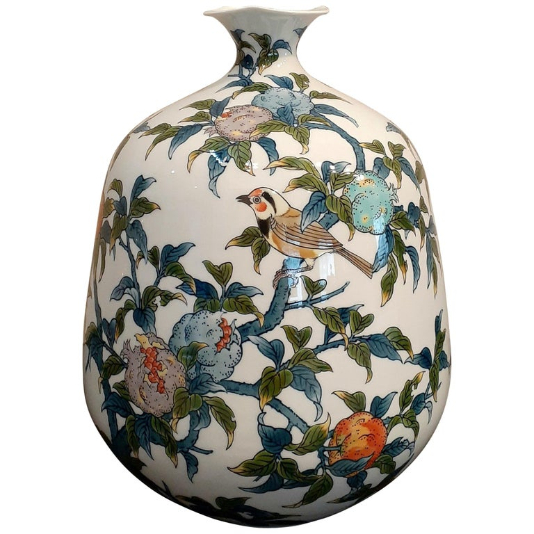 Japanese Contempory Green Blue Orange Porcelain Vase by Master Artist For Sale