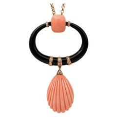 Japanese Coral, Diamonds, Onyx, 18kt Rose Gold Pendant Necklace
