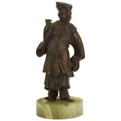 Japanese Court Figure in Bronzed Metal on Stone Base