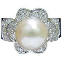 Japanese Cultured Pearl .75 Carat Diamond Ring 14 Karat Daisy Deco