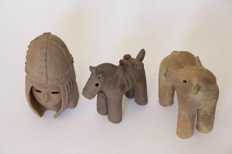 Japanese Decorative Haniwa Style Ceramic Figures In Good Condition For Sale In Pittsburgh, PA
