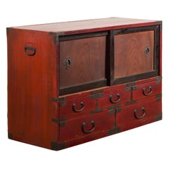 Japanese Early 20th Century Dark Red and Black Lacquered Tansu Cabinet