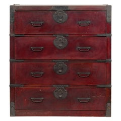 Japanese Early 20th Century Keyaki Wood Tansu Traveling Chest with Four Drawers