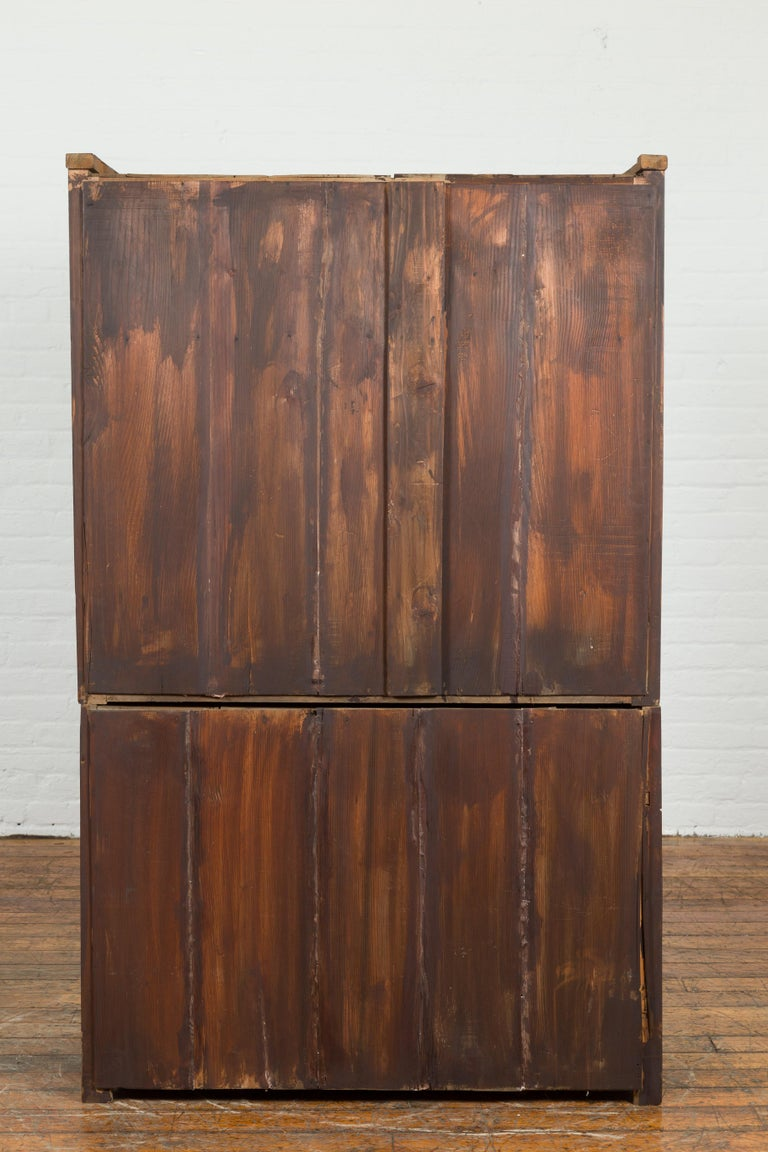 Japanese Early 20th Century Kitchen Tansu Cabinet with Sliding Doors and Drawers For Sale 6