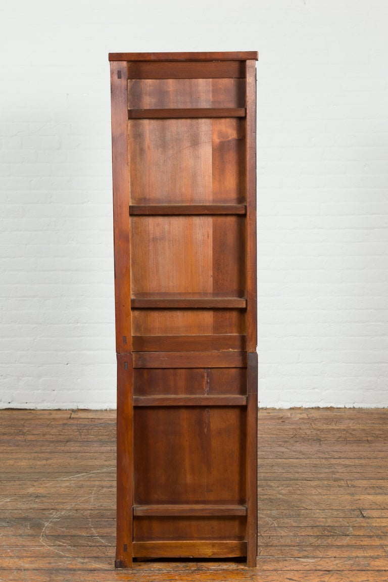 Japanese Early 20th Century Kitchen Tansu Cabinet with Sliding Doors and Drawers For Sale 7