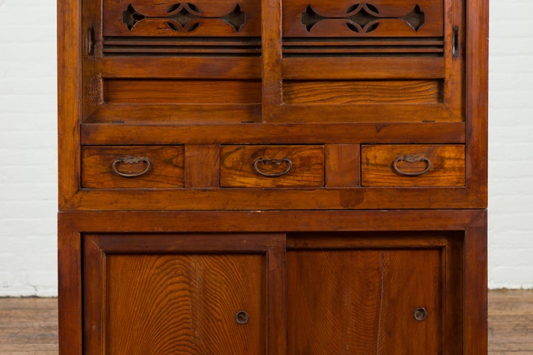 Japanese Early 20th Century Kitchen Tansu Cabinet with Sliding Doors and Drawers For Sale 1