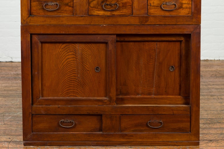 Japanese Early 20th Century Kitchen Tansu Cabinet with Sliding Doors and Drawers For Sale 2