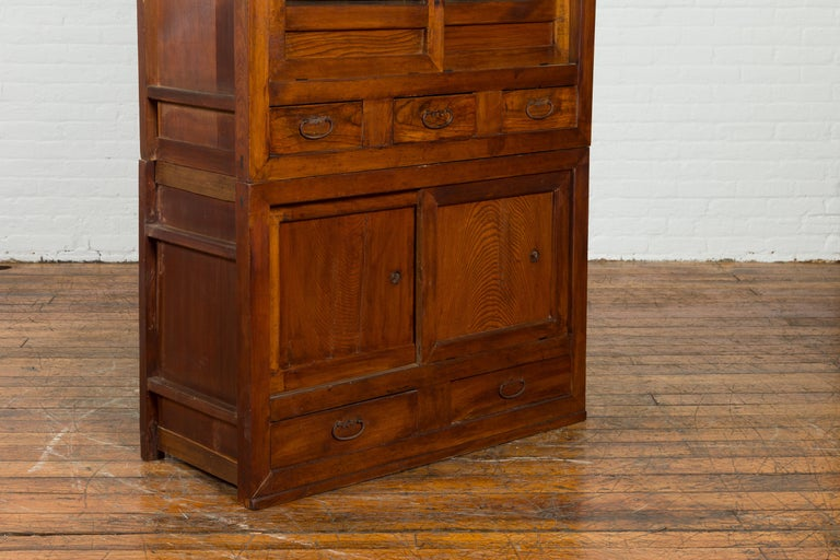 Japanese Early 20th Century Kitchen Tansu Cabinet with Sliding Doors and Drawers For Sale 4