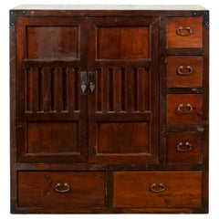 Japanese Early 20th Century Two-Way Floating Side Cabinet with Doors and Drawers