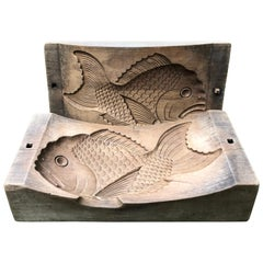 """Japanese Early Antique Cherrywood """"Fish"""" Mold, Rare Collectible, 19th Century"""