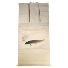 "Japanese Early Scroll ""KOI Fish With BABIES"" Hand Painting on Silk, Signed"