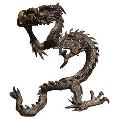 Japanese Meiji Bronze Dragon Sculpture Holding Golden Orb
