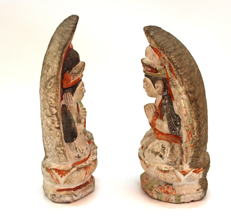 Japanese Edo Carved Stone Bodhisattva Sculptures In Good Condition For Sale In New York, NY