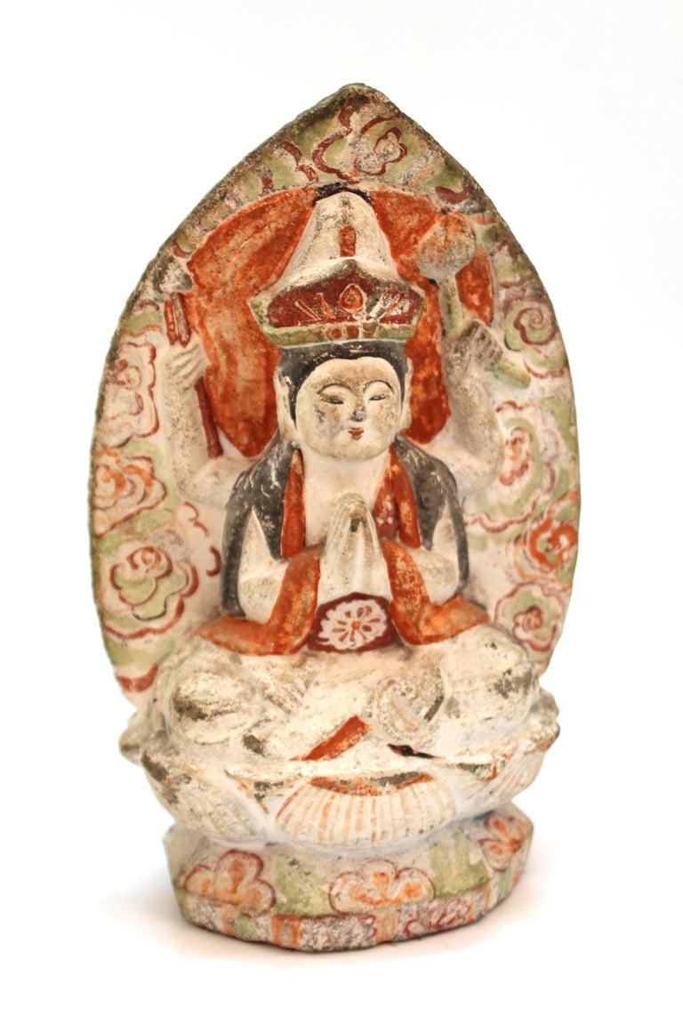 Japanese Edo Carved Stone Bodhisattva Sculptures For Sale 2