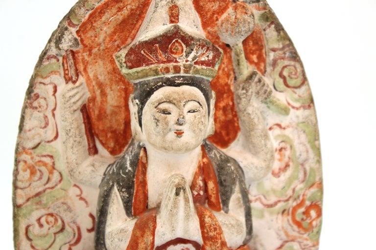 Japanese Edo Carved Stone Bodhisattva Sculptures For Sale 4