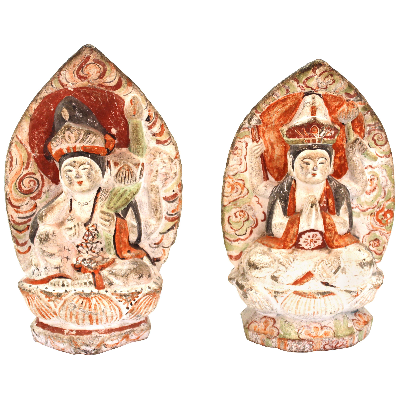 Japanese Edo Carved Stone Bodhisattva Sculptures