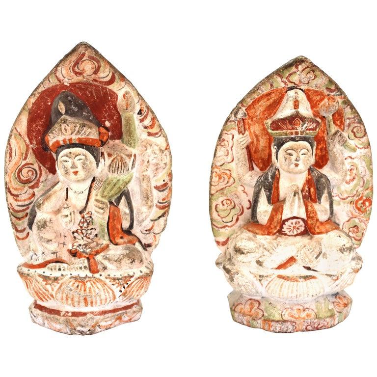 Japanese Edo Carved Stone Bodhisattva Sculptures For Sale