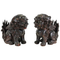 Japanese Edo Carved Wood Foo Dogs