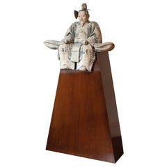 "Japanese Edo Carved Wood Sculpture of Shogun ""Saidai-Jin"" on Pedestal"