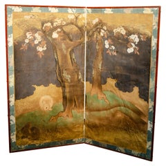Japanese Edo Decorated Paper Two Panel Screen